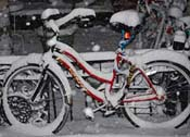 Bicycle covered with new-fallen snow