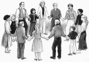 Drawing of Friends standing in a circle