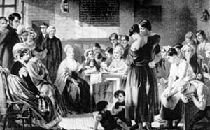 Elizabeth Fry reads to prisoners at Newgate Prison, 1823