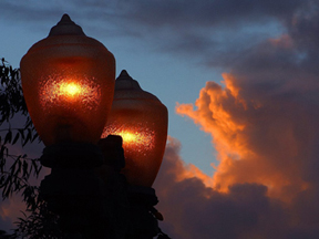 Lamps at sunset