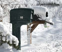 Snow-covered mailboxes